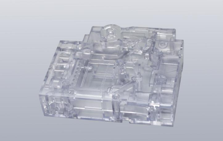 A model of an appearance test piece (transparent parts facilitate observation of internal structure)